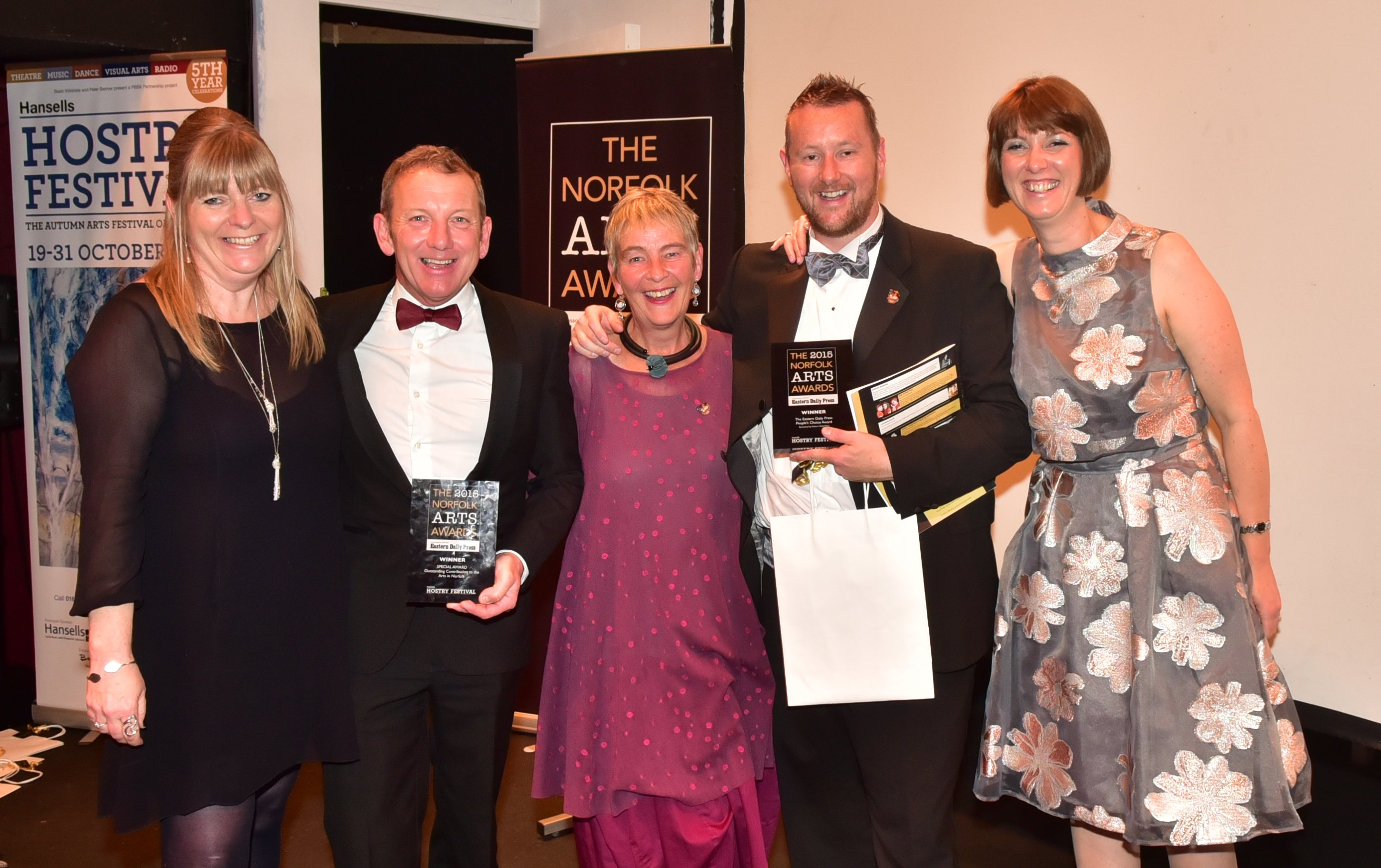 The 2015 Norfolk Arts Awards at The Maddermarket Theatre. The EDP Peoples Choice Award winners, the GoGoDragons! team. Picture: ANTONY KELLY