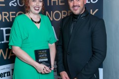 Winner Sarah Witcomb with award presenter Stephen Crocker