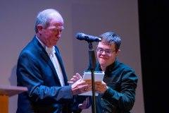Peter Barrow presents award to Hugh Darrah